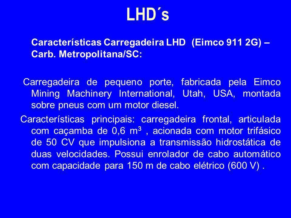 Características Carregadeira LHD (Eimco 911 2G) – Carb. Metropolitana/SC: Carregadeira de pequeno porte, fabricada pela Eimco Mining Machinery Interna