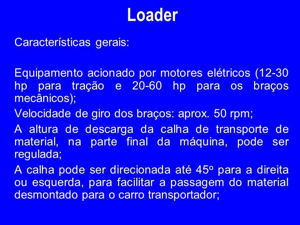 Características gerais: Equipamento acionado por motores elétricos (12-30 hp para tração e 20-60 hp para os braços mecânicos); Velocidade de giro dos