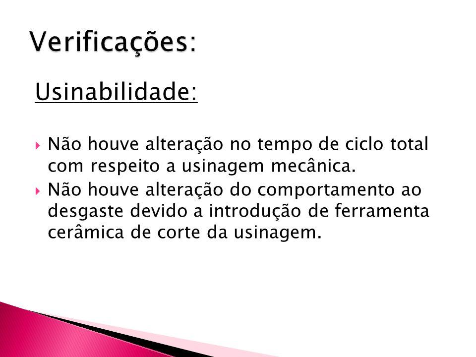 Usinabilidade:  Não houve alteração no tempo de ciclo total com respeito a usinagem mecânica.