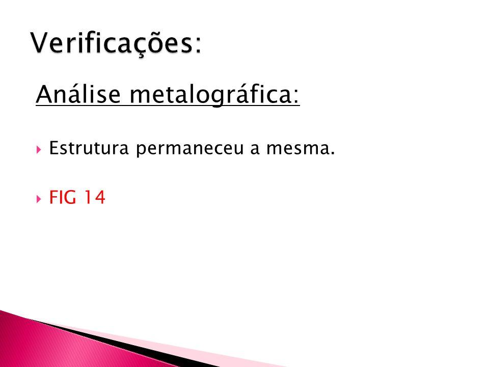 Análise metalográfica:  Estrutura permaneceu a mesma.  FIG 14