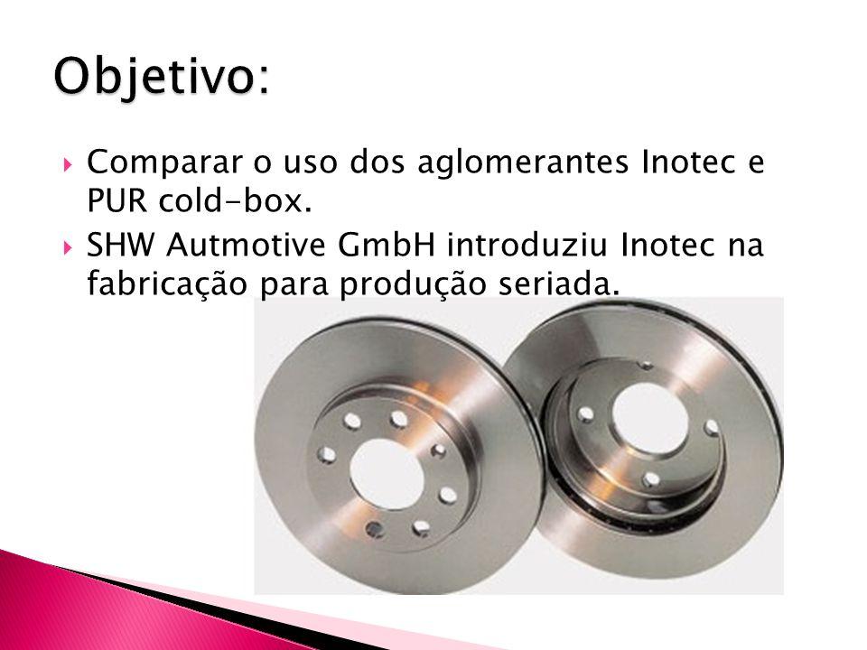 Comparar o uso dos aglomerantes Inotec e PUR cold-box.