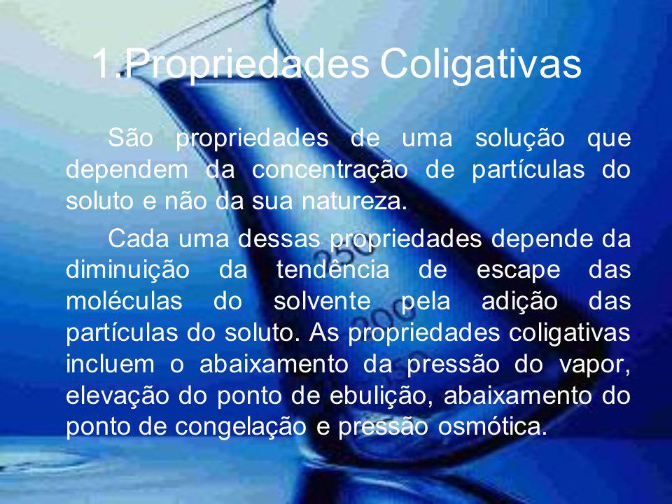 1.Propriedades Coligativas São propriedades de uma solução que dependem da concentração de partículas do soluto e não da sua natureza. Cada uma dessas