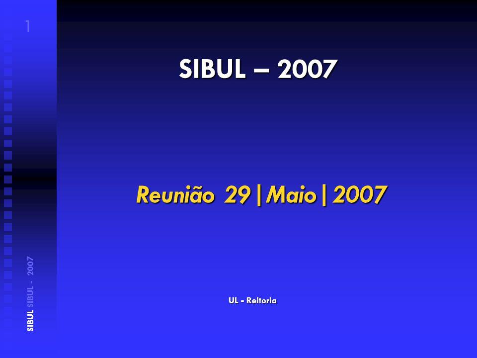 SIBUL – 2007 UL - Reitoria SIBUL SIBUL - 2007 1 Reunião 29|Maio|2007