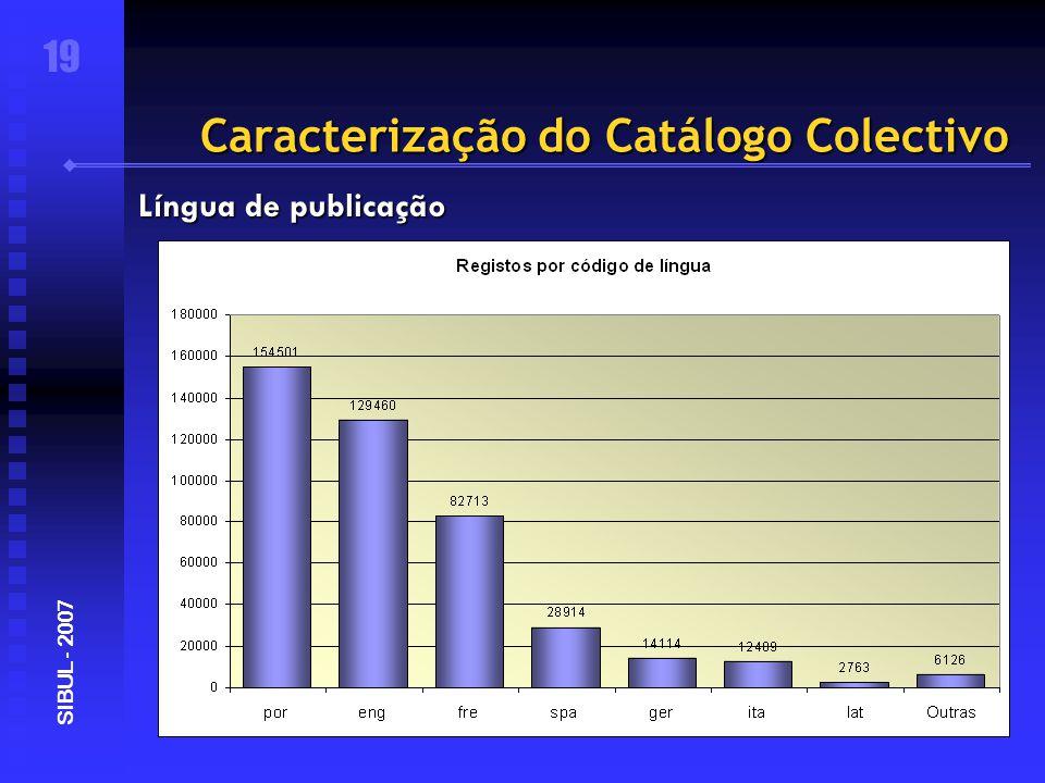 Caracterização do Catálogo Colectivo 19 SIBUL - 2007 Língua de publicação