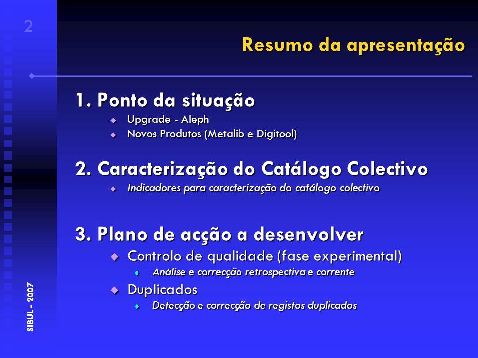 Ponto da situação - produtos 3 SIBUL - 2007 1