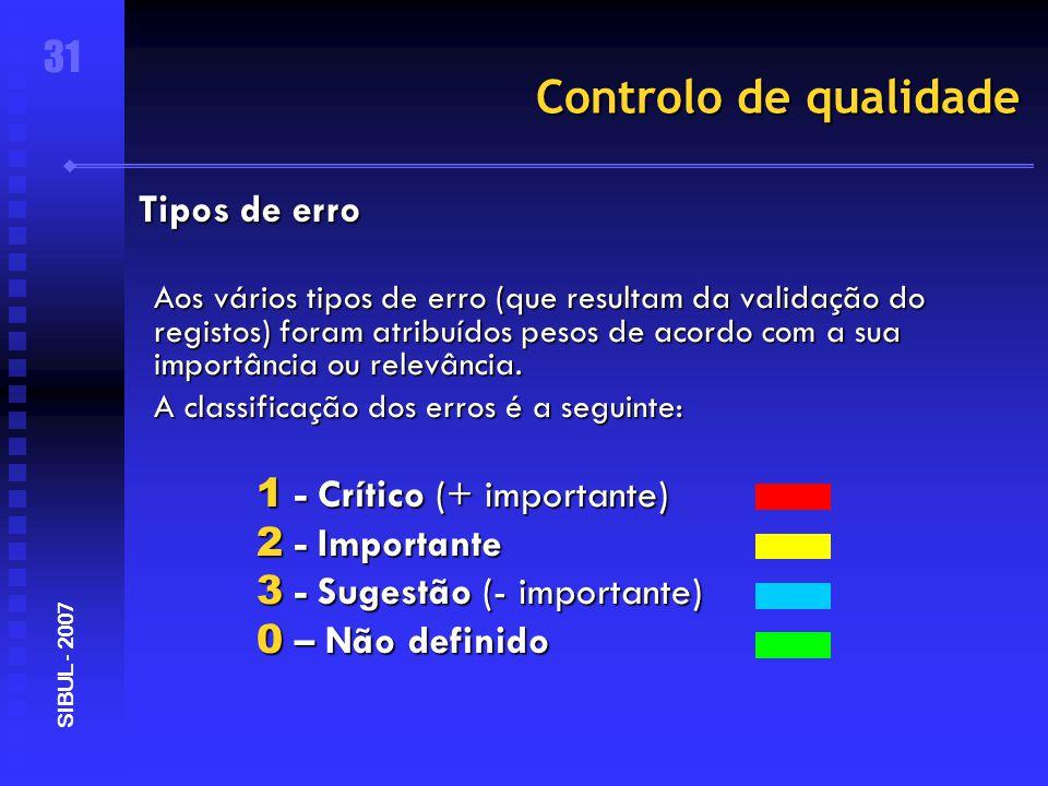 Controlo de qualidade Aos vários tipos de erro (que resultam da validação do registos) foram atribuídos pesos de acordo com a sua importância ou relevância.