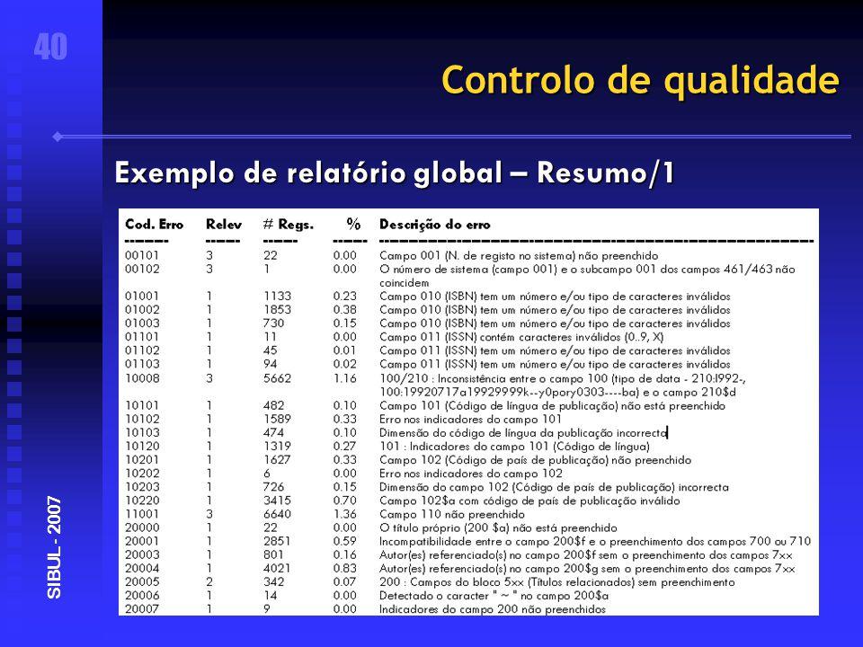 Controlo de qualidade 40 SIBUL - 2007 Exemplo de relatório global – Resumo/1