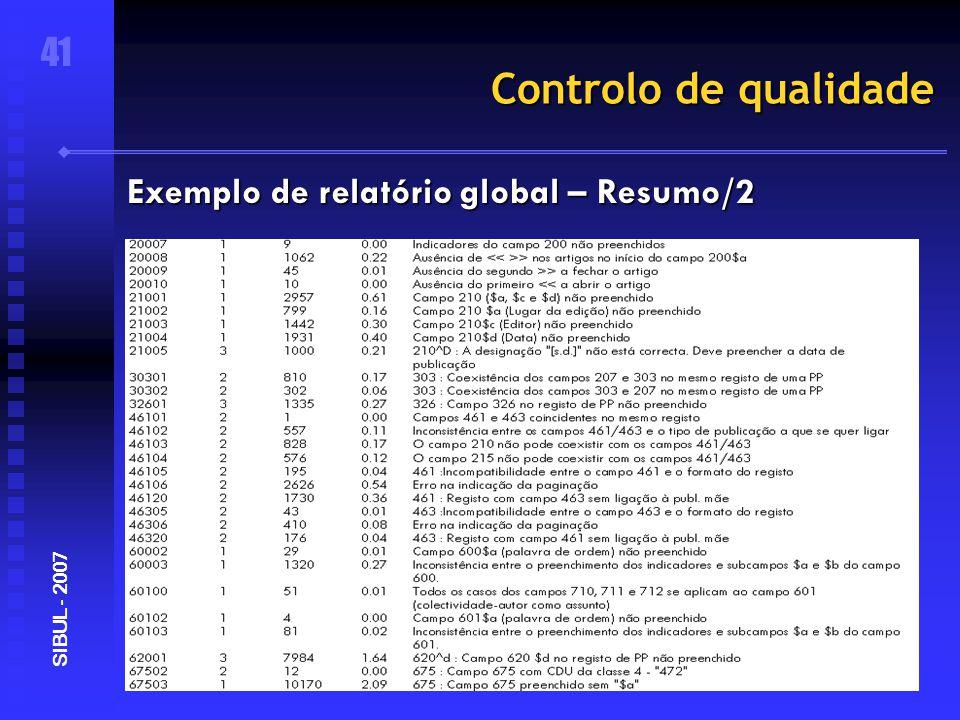 Controlo de qualidade 41 SIBUL - 2007 Exemplo de relatório global – Resumo/2