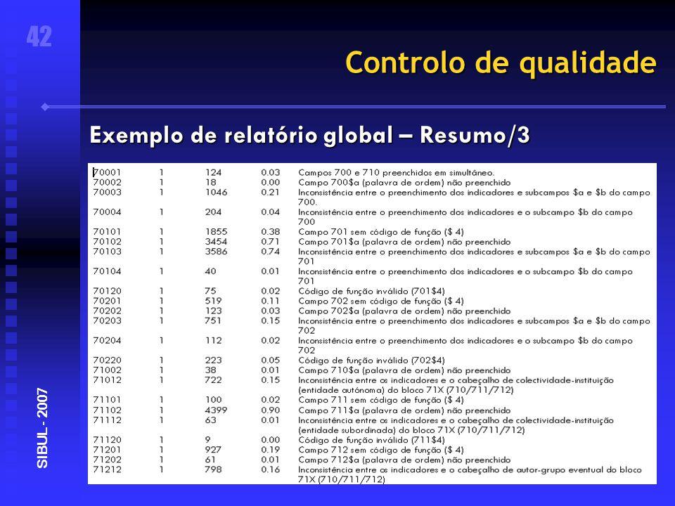 Controlo de qualidade 42 SIBUL - 2007 Exemplo de relatório global – Resumo/3
