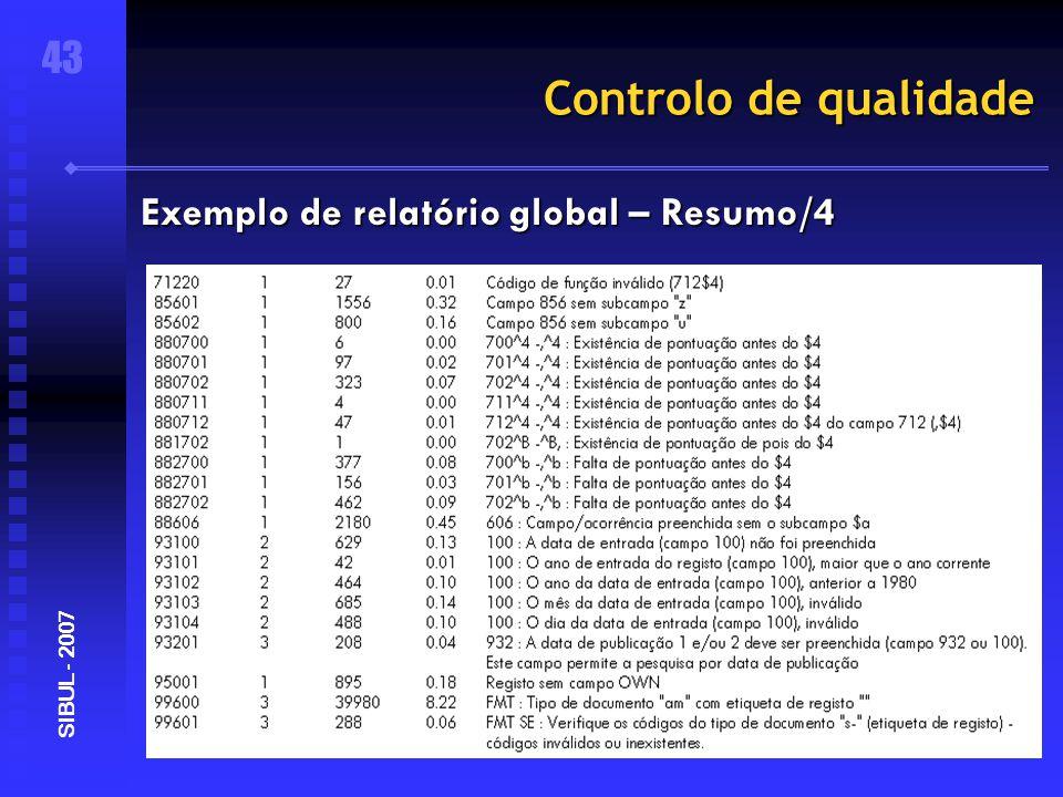 Controlo de qualidade 43 SIBUL - 2007 Exemplo de relatório global – Resumo/4
