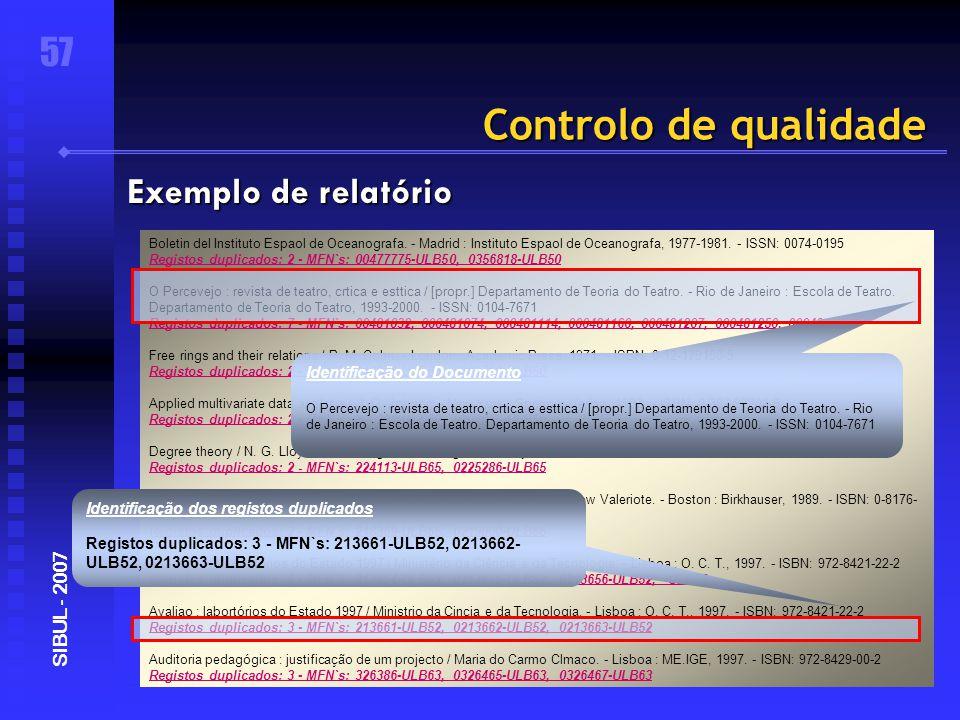 Controlo de qualidade 57 SIBUL - 2007 Exemplo de relatório Boletin del Instituto Espaol de Oceanografa.