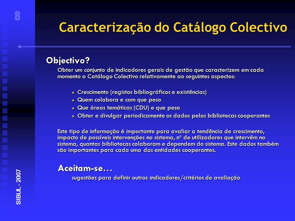 Caracterização do Catálogo Colectivo 9 SIBUL - 2007 Dados gerais Registos bibliográficos 431.080 Existências 884.674 Bibliotecas 18 Sub-bibliotecas 83 Utilizadores registados (staff) 193