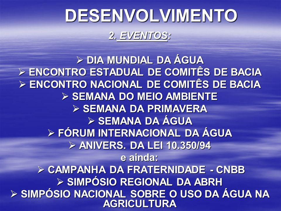 DESENVOLVIMENTO 2. EVENTOS:  DIA MUNDIAL DA ÁGUA  ENCONTRO ESTADUAL DE COMITÊS DE BACIA  ENCONTRO NACIONAL DE COMITÊS DE BACIA  SEMANA DO MEIO AMB