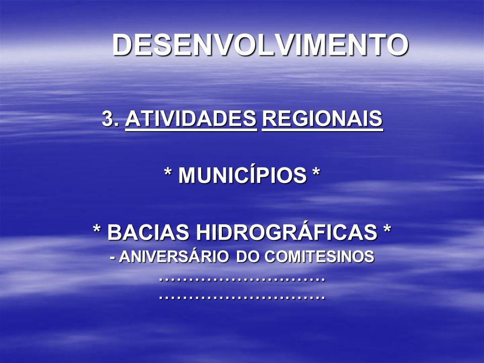 DESENVOLVIMENTO 3. ATIVIDADES REGIONAIS * MUNICÍPIOS * * BACIAS HIDROGRÁFICAS * - ANIVERSÁRIO DO COMITESINOS..........................................