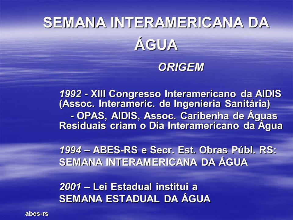 SEMANA INTERAMERICANA DA ÁGUA ORIGEM 1992 - XIII Congresso Interamericano da AIDIS (Assoc. Interameric. de Ingenieria Sanitária) - OPAS, AIDIS, Assoc.