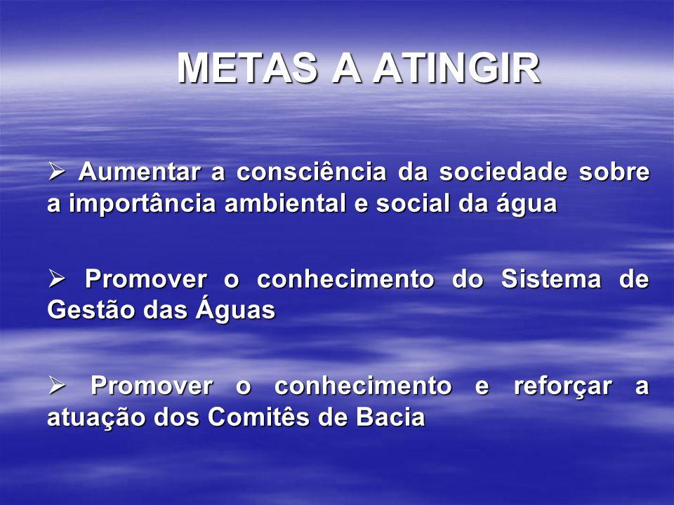 METAS A ATINGIR  Aumentar a consciência da sociedade sobre a importância ambiental e social da água  Promover o conhecimento do Sistema de Gestão da