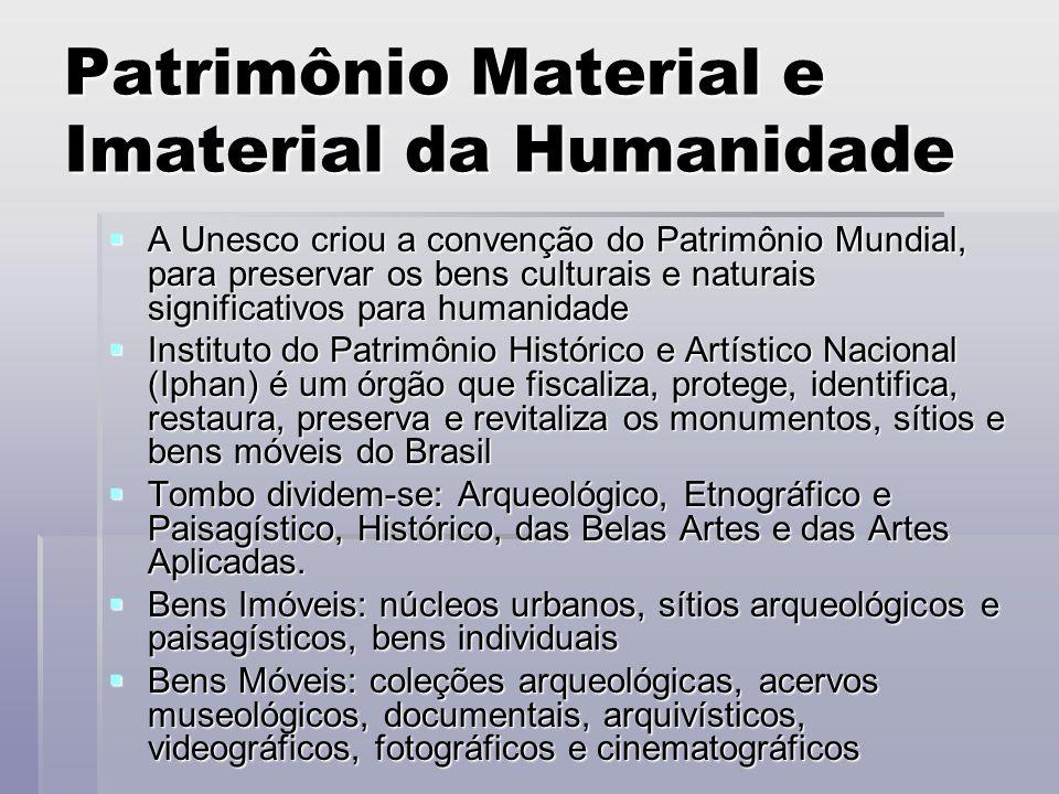 Patrimônio Material e Imaterial da Humanidade  A Unesco criou a convenção do Patrimônio Mundial, para preservar os bens culturais e naturais signific