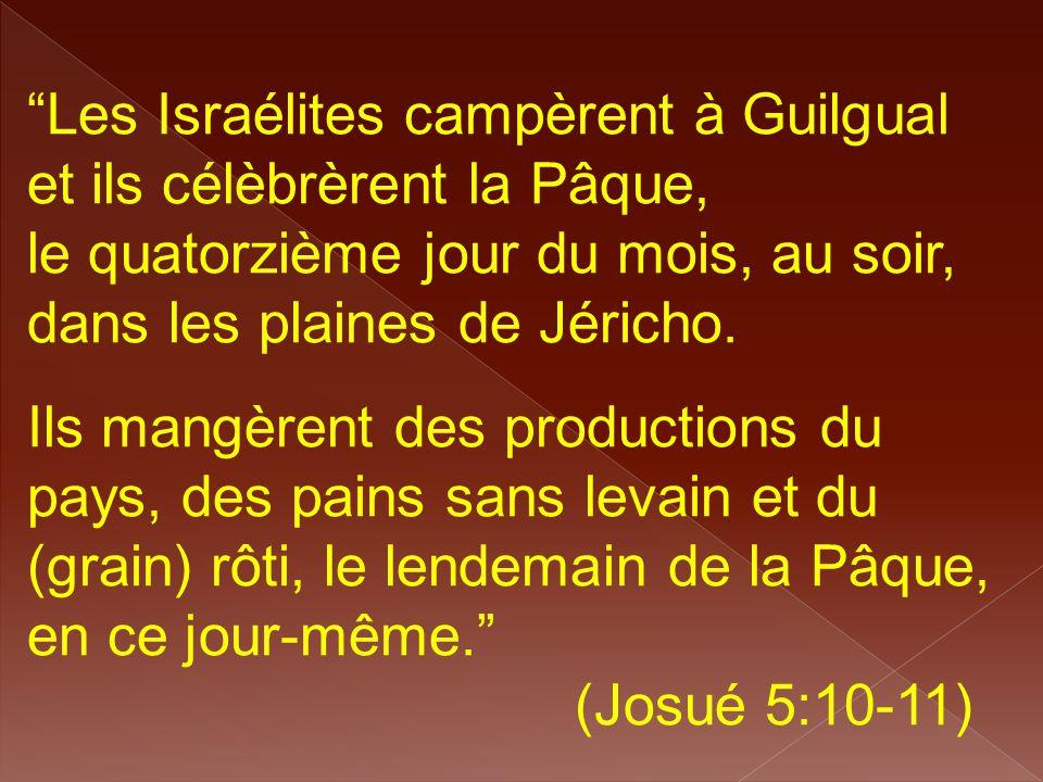 """""""Les Israélites campèrent à Guilgual et ils célèbrèrent la Pâque, le quatorzième jour du mois, au soir, dans les plaines de Jéricho. Ils mangèrent des"""