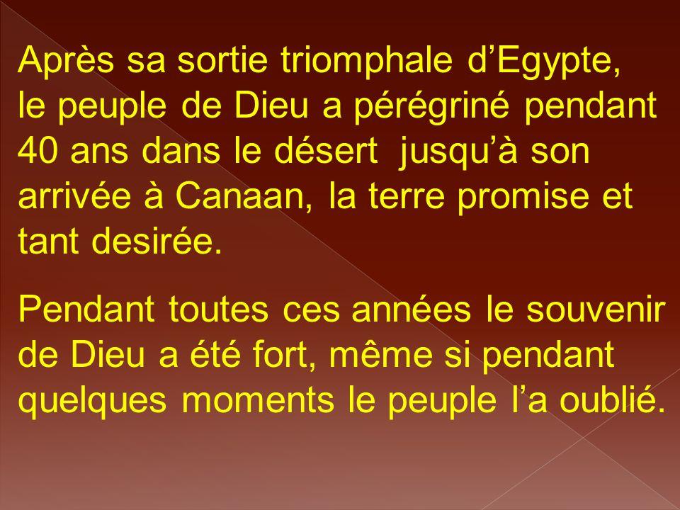 Après sa sortie triomphale d'Egypte, le peuple de Dieu a pérégriné pendant 40 ans dans le désert jusqu'à son arrivée à Canaan, la terre promise et tan