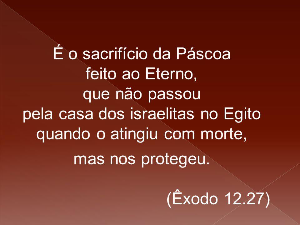 É o sacrifício da Páscoa feito ao Eterno, que não passou pela casa dos israelitas no Egito quando o atingiu com morte, mas nos protegeu. (Êxodo 12.27)