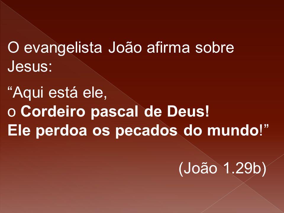 """O evangelista João afirma sobre Jesus: """"Aqui está ele, o Cordeiro pascal de Deus! Ele perdoa os pecados do mundo!"""" (João 1.29b)"""