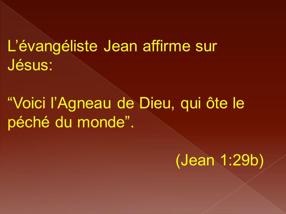 """L'évangéliste Jean affirme sur Jésus: """"Voici l'Agneau de Dieu, qui ôte le péché du monde"""". (Jean 1:29b)"""