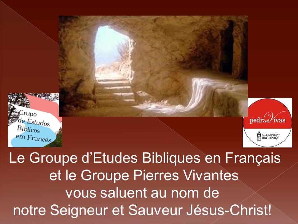 Le Groupe d'Etudes Bibliques en Français et le Groupe Pierres Vivantes vous saluent au nom de notre Seigneur et Sauveur Jésus-Christ!