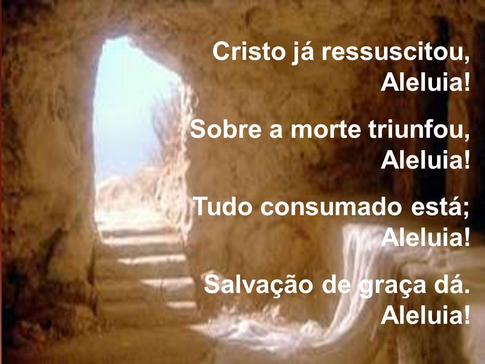 Cristo já ressuscitou, Aleluia! Sobre a morte triunfou, Aleluia! Tudo consumado está; Aleluia! Salvação de graça dá. Aleluia!
