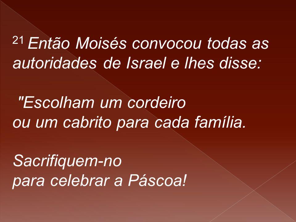 21 Então Moisés convocou todas as autoridades de Israel e lhes disse: