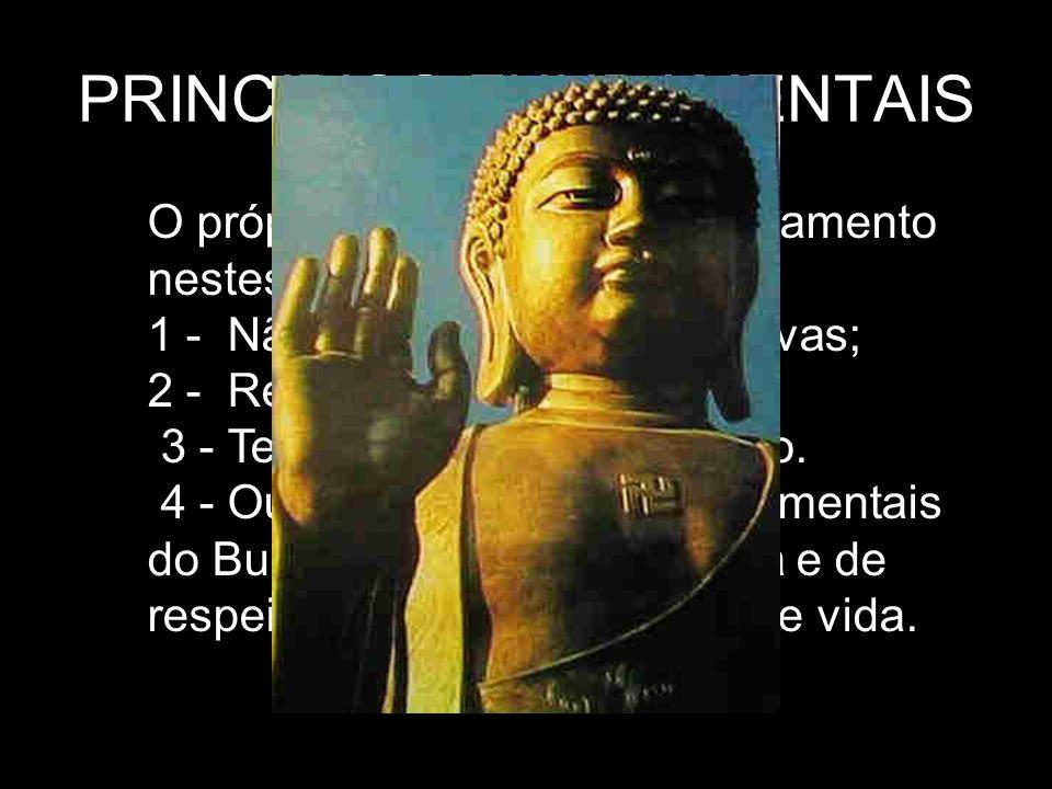 PRINCIPIOS FUNDAMENTAIS O próprio Buda definiu o ensinamento nestes termos: 1 - Não cometer ações negativas; 2 - Realizar ações positivas; 3 - Ter mes