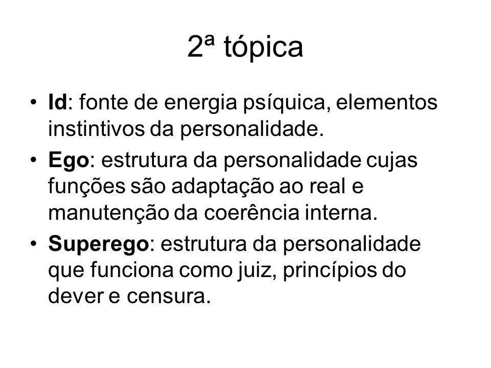 2ª tópica •Id: fonte de energia psíquica, elementos instintivos da personalidade. •Ego: estrutura da personalidade cujas funções são adaptação ao real