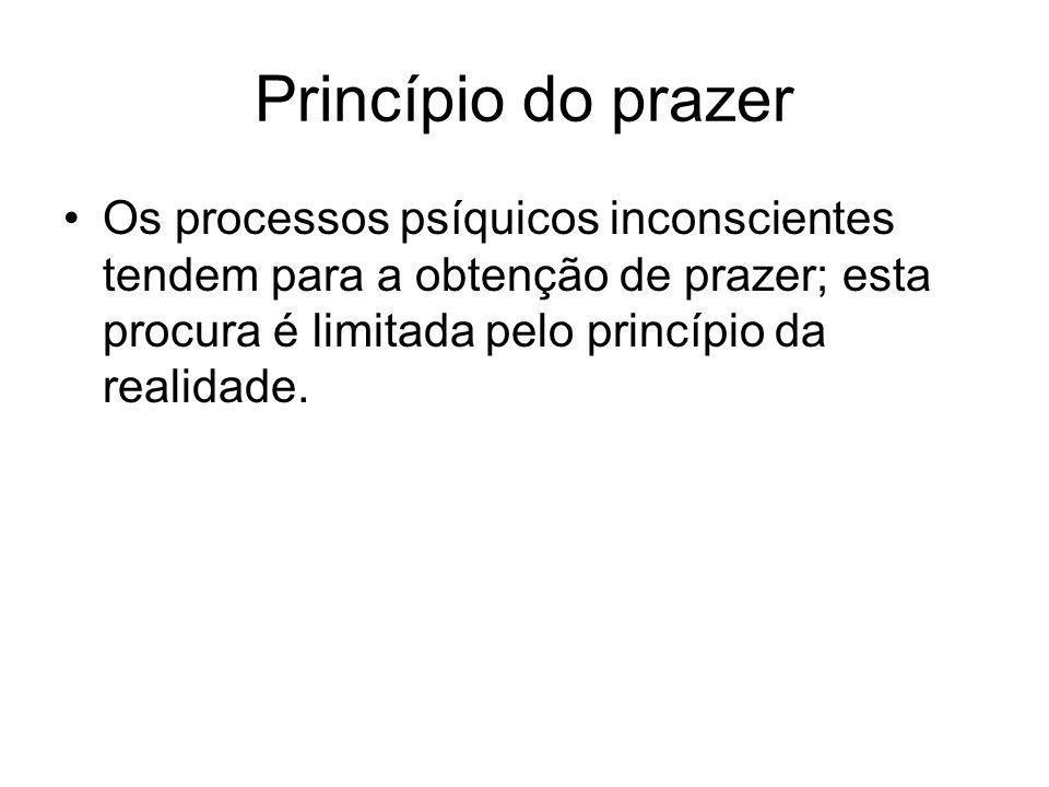 Princípio do prazer •Os processos psíquicos inconscientes tendem para a obtenção de prazer; esta procura é limitada pelo princípio da realidade.