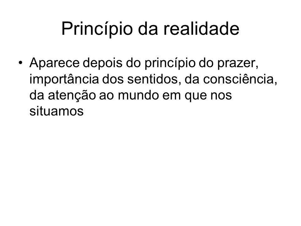 Princípio da realidade •Aparece depois do princípio do prazer, importância dos sentidos, da consciência, da atenção ao mundo em que nos situamos
