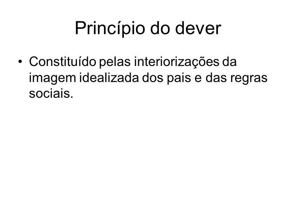 Princípio do dever •Constituído pelas interiorizações da imagem idealizada dos pais e das regras sociais.