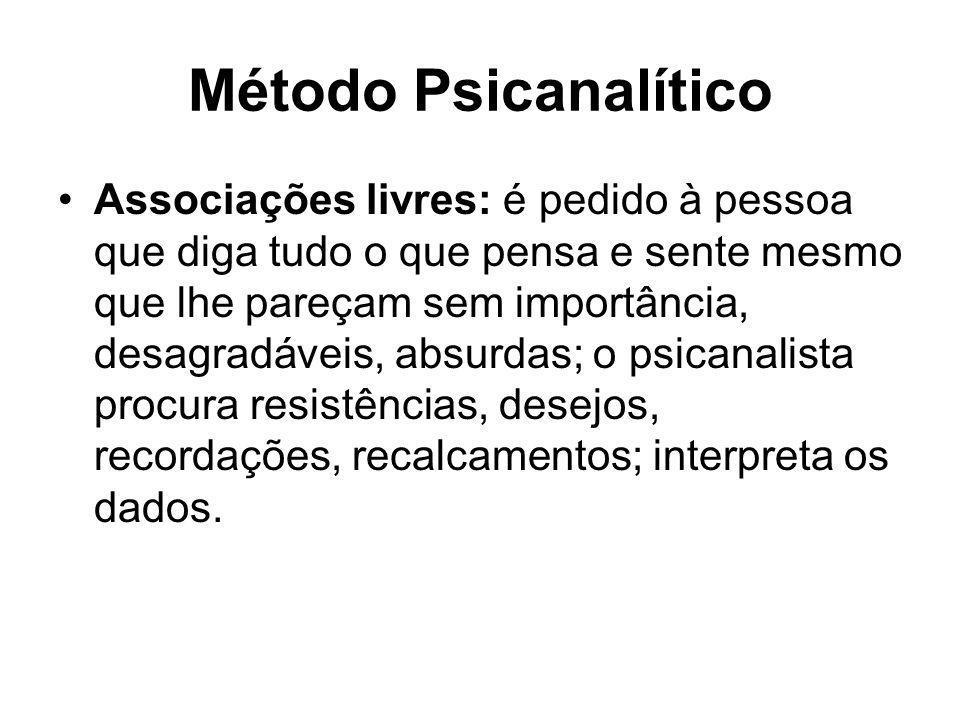 Método Psicanalítico •Associações livres: é pedido à pessoa que diga tudo o que pensa e sente mesmo que lhe pareçam sem importância, desagradáveis, ab