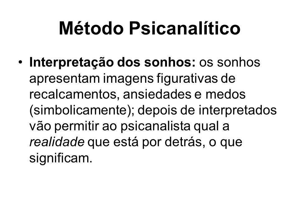 Método Psicanalítico •Interpretação dos sonhos: os sonhos apresentam imagens figurativas de recalcamentos, ansiedades e medos (simbolicamente); depois