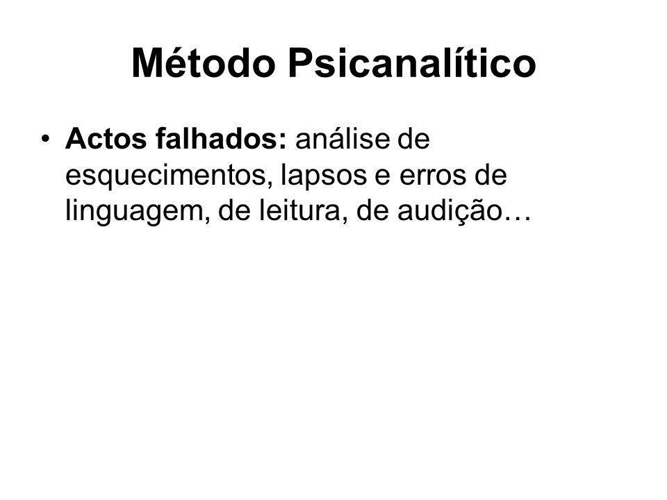 Método Psicanalítico •Actos falhados: análise de esquecimentos, lapsos e erros de linguagem, de leitura, de audição…