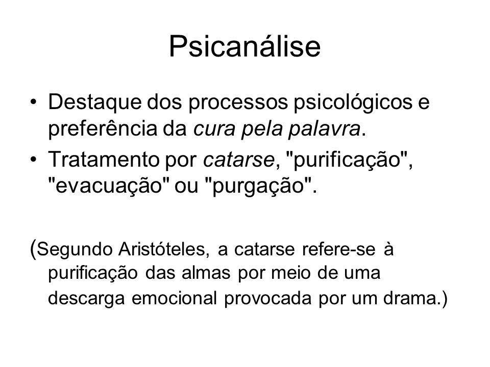 Psicanálise •Destaque dos processos psicológicos e preferência da cura pela palavra. •Tratamento por catarse,