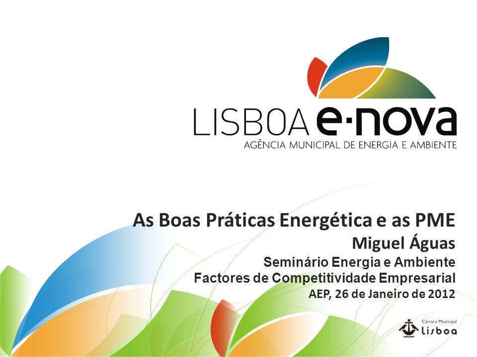 As Boas Práticas Energética e as PME Miguel Águas Seminário Energia e Ambiente Factores de Competitividade Empresarial AEP, 26 de Janeiro de 2012