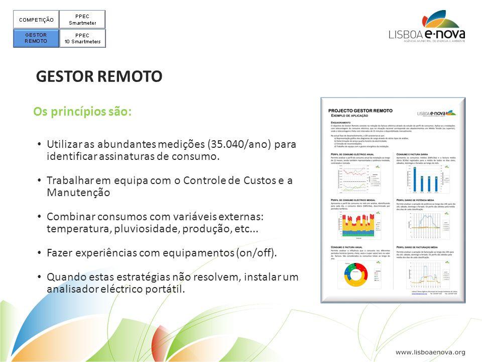 GESTOR REMOTO • Utilizar as abundantes medições (35.040/ano) para identificar assinaturas de consumo. • Trabalhar em equipa com o Controle de Custos e