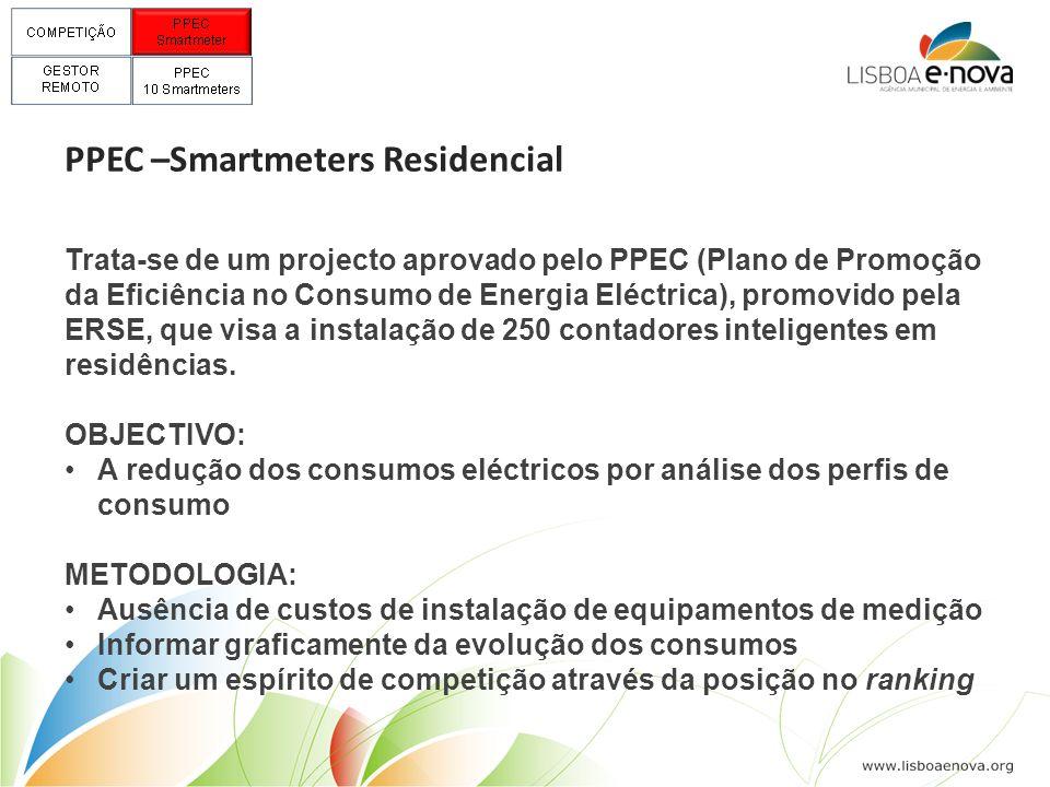 PPEC –Smartmeters Residencial Trata-se de um projecto aprovado pelo PPEC (Plano de Promoção da Eficiência no Consumo de Energia Eléctrica), promovido pela ERSE, que visa a instalação de 250 contadores inteligentes em residências.