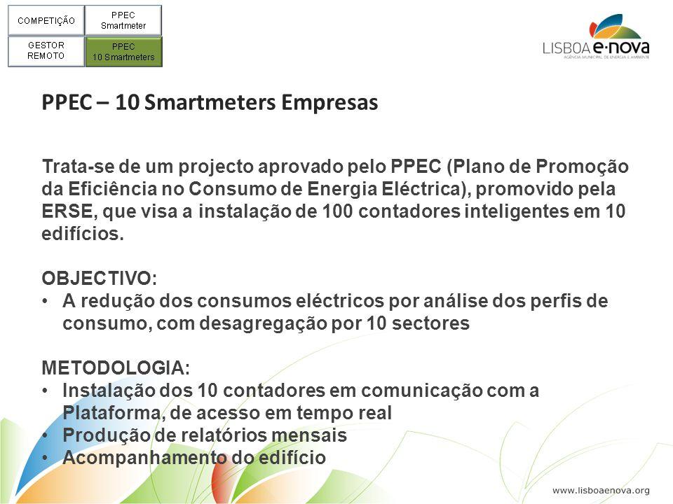 PPEC – 10 Smartmeters Empresas Trata-se de um projecto aprovado pelo PPEC (Plano de Promoção da Eficiência no Consumo de Energia Eléctrica), promovido pela ERSE, que visa a instalação de 100 contadores inteligentes em 10 edifícios.