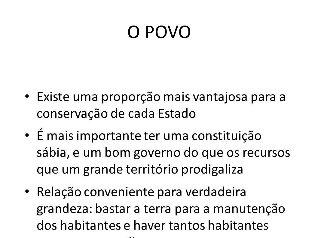 O POVO • Existe uma proporção mais vantajosa para a conservação de cada Estado • É mais importante ter uma constituição sábia, e um bom governo do que