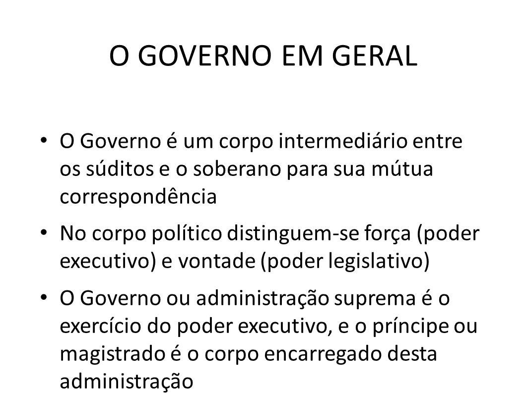 O GOVERNO EM GERAL • O Governo é um corpo intermediário entre os súditos e o soberano para sua mútua correspondência • No corpo político distinguem-se