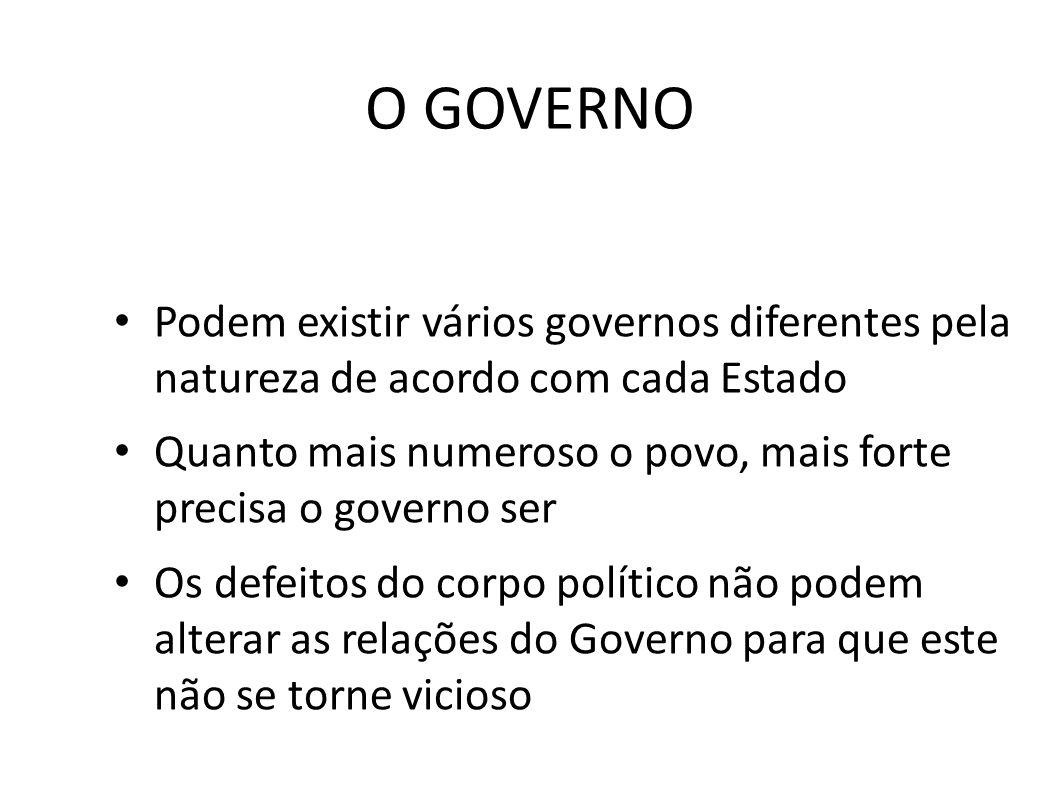 O GOVERNO • Podem existir vários governos diferentes pela natureza de acordo com cada Estado • Quanto mais numeroso o povo, mais forte precisa o gover