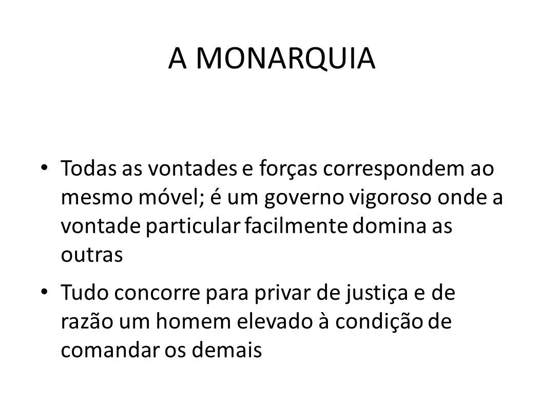 A MONARQUIA • Todas as vontades e forças correspondem ao mesmo móvel; é um governo vigoroso onde a vontade particular facilmente domina as outras • Tu