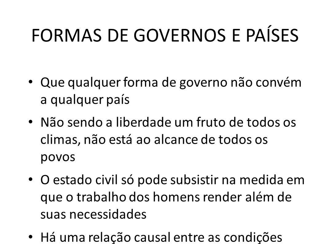 FORMAS DE GOVERNOS E PAÍSES • Que qualquer forma de governo não convém a qualquer país • Não sendo a liberdade um fruto de todos os climas, não está a