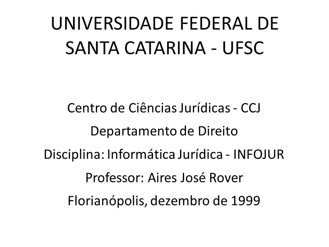 UNIVERSIDADE FEDERAL DE SANTA CATARINA - UFSC Centro de Ciências Jurídicas - CCJ Departamento de Direito Disciplina: Informática Jurídica - INFOJUR Pr