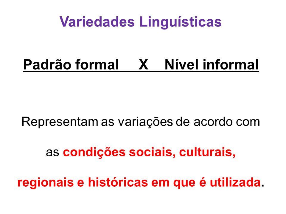 Variedades Linguísticas Padrão formal X Nível informal Representam as variações de acordo com as condições sociais, culturais, regionais e históricas