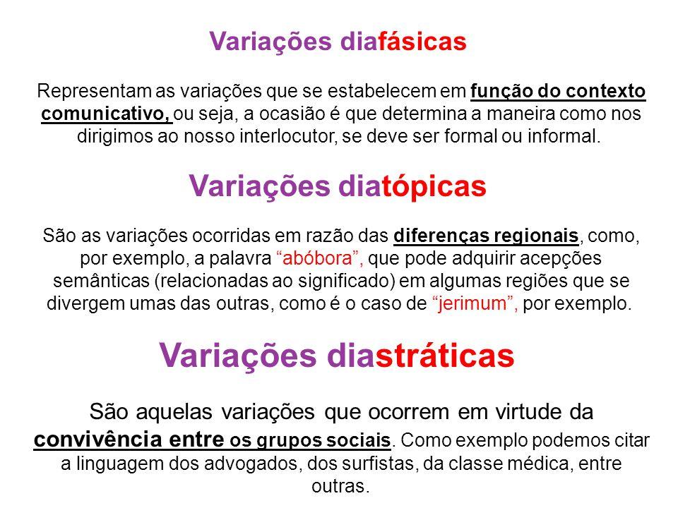 Variações diafásicas Representam as variações que se estabelecem em função do contexto comunicativo, ou seja, a ocasião é que determina a maneira como